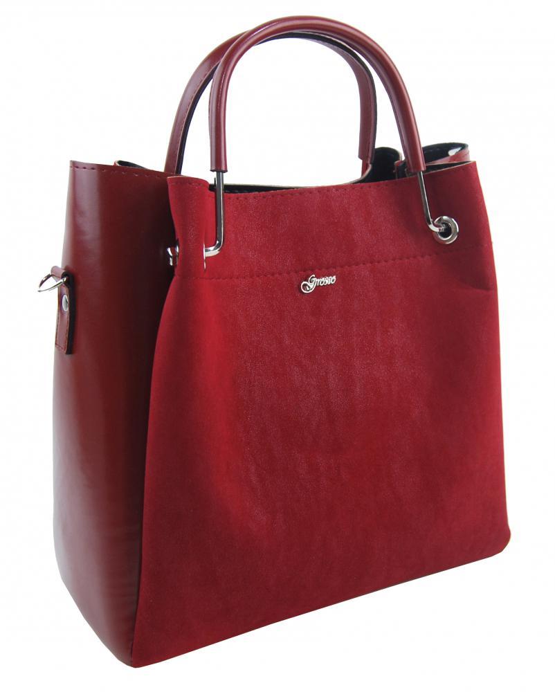 GROSSO Červeno-bordová luxusní kabelka do ruky S728