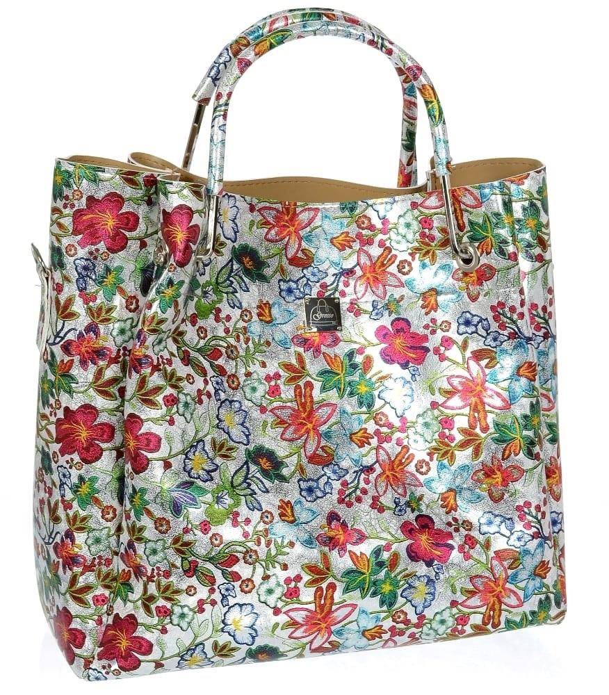 Barevná moderní dámská kabelka s motivem květin S728 GROSSO