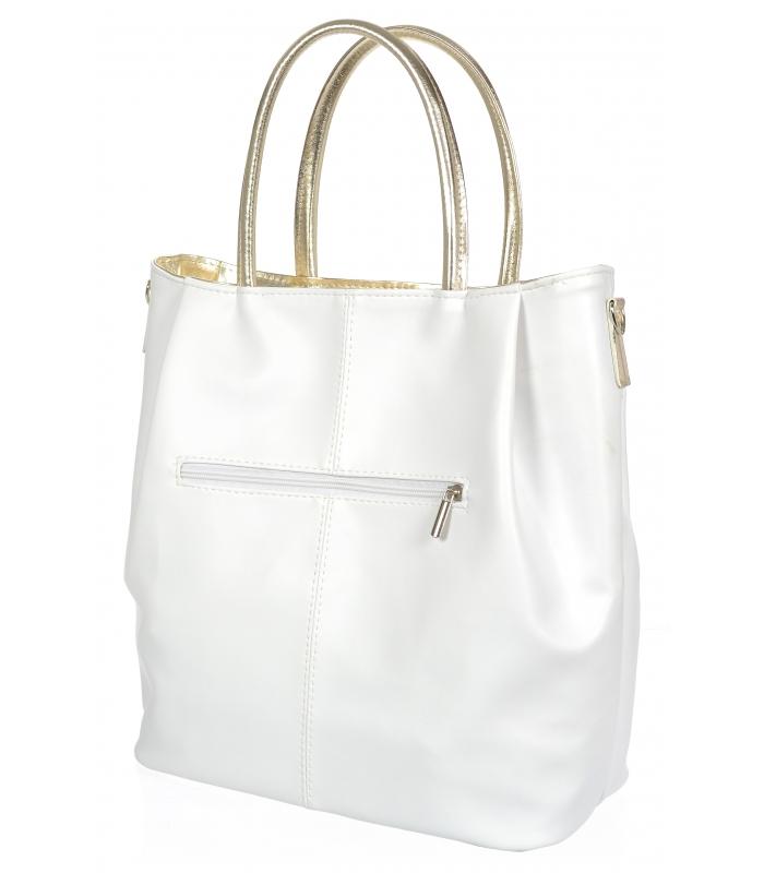 Bílo-zlatá prostorná elegantní dámská kabelka S737 GROSSO