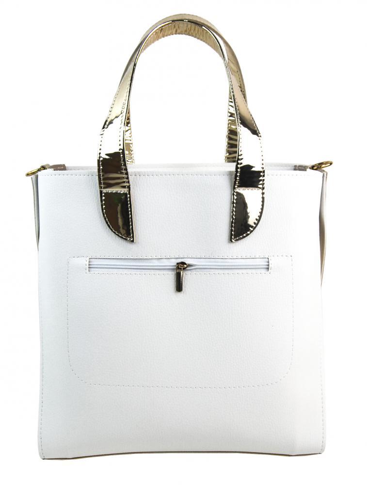 Velká bílo-zlatá dámská kabelka do ruky i na rameno S777 GROSSO