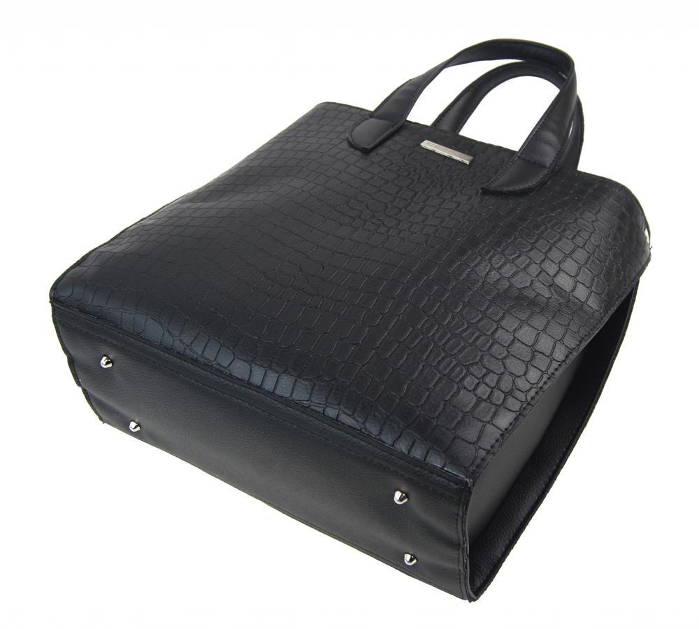 Velká matná černá kroko dámská kabelka do ruky i na rameno S777 GROSSO