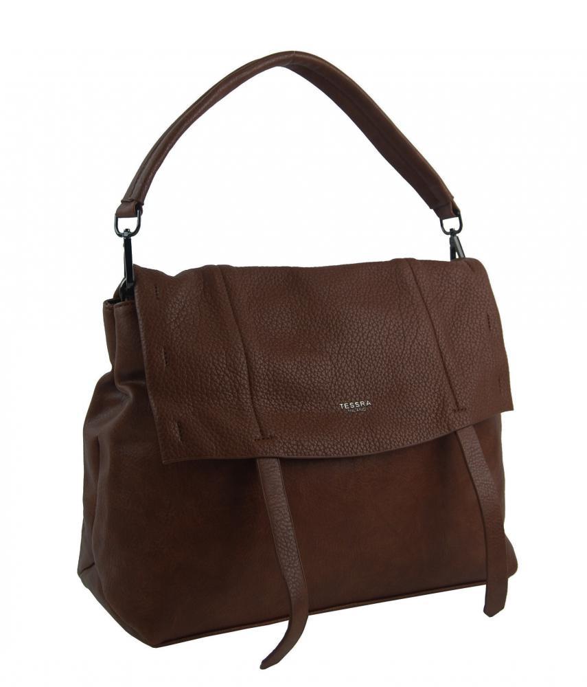 Tmavě hnědá dámská kabelka do ruky / přes rameno / crossbody 5043-TS