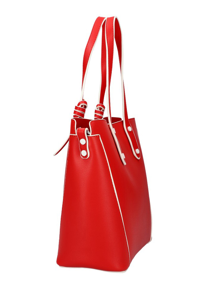 VALENTINA MADRID Červená dámska kabelka s bielymi lemami