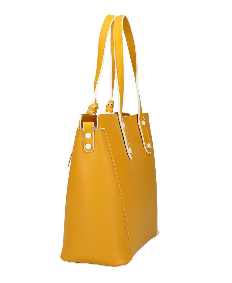 VALENTINA MADRID Žltá dámska kabelka s bielymi lemami