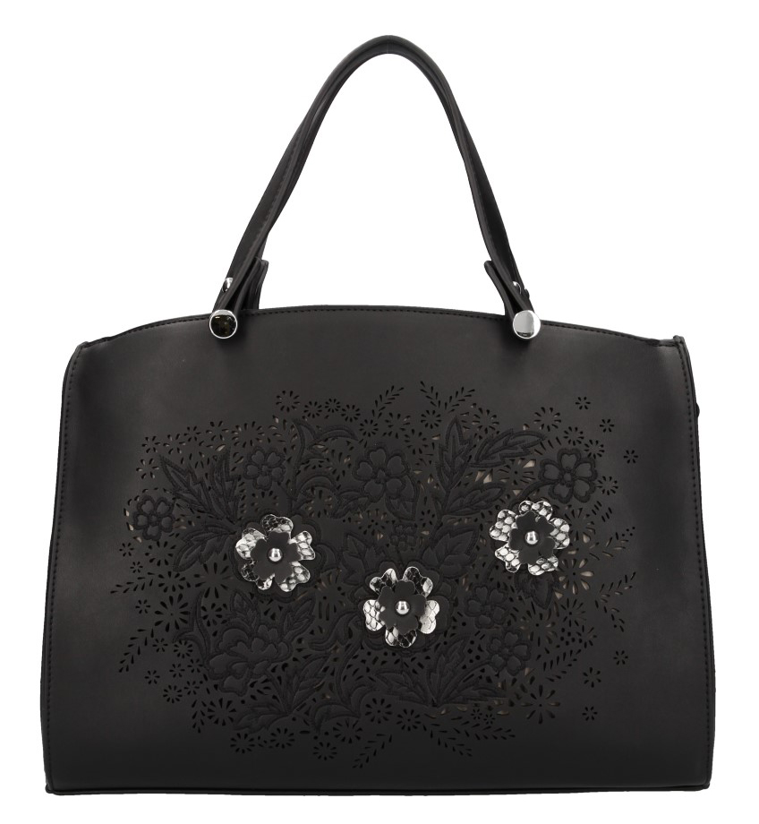 Černá matná dámská kabelka v květovaném motivu Valentina Madrid
