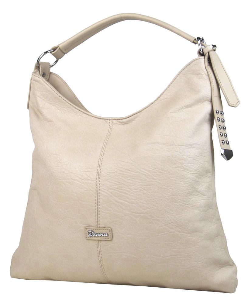 Moderní velká krémová kombinovaná dámská kabelka 3753-DE