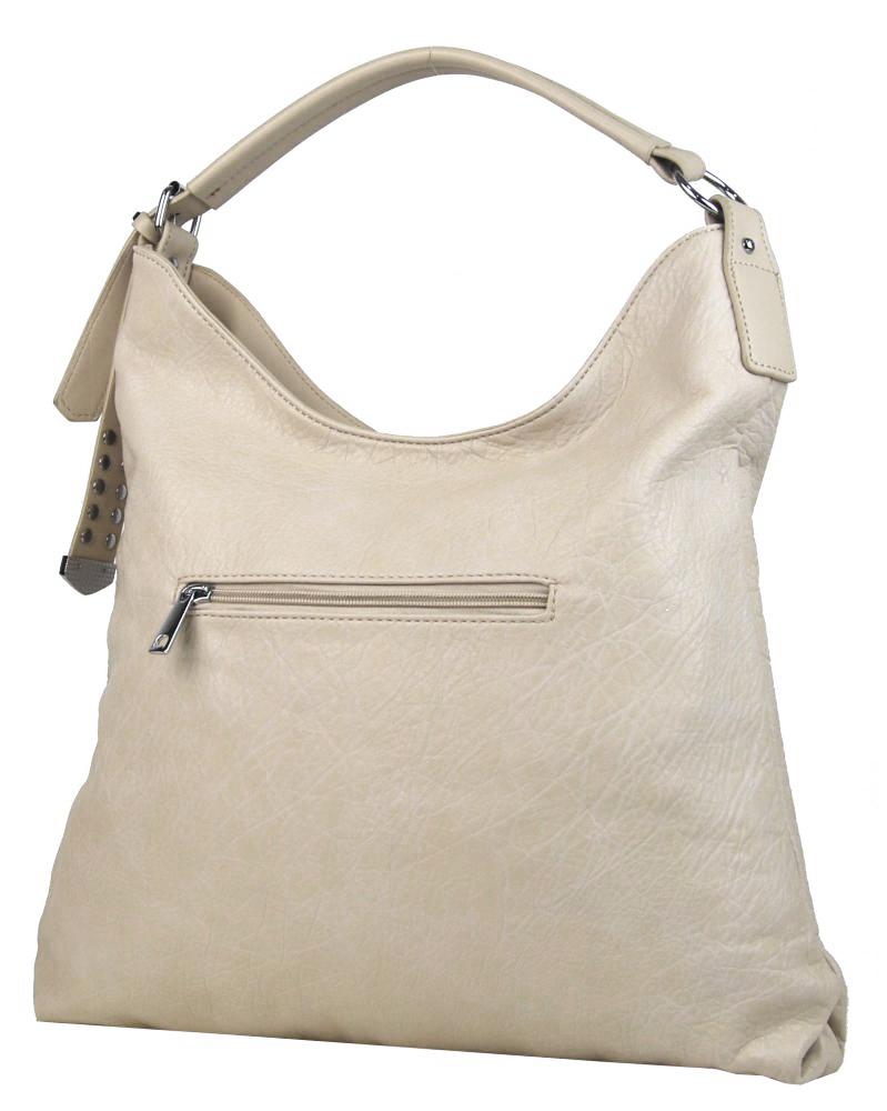 Moderná veľká krémová kombinovaná dámska kabelka 3753-DE