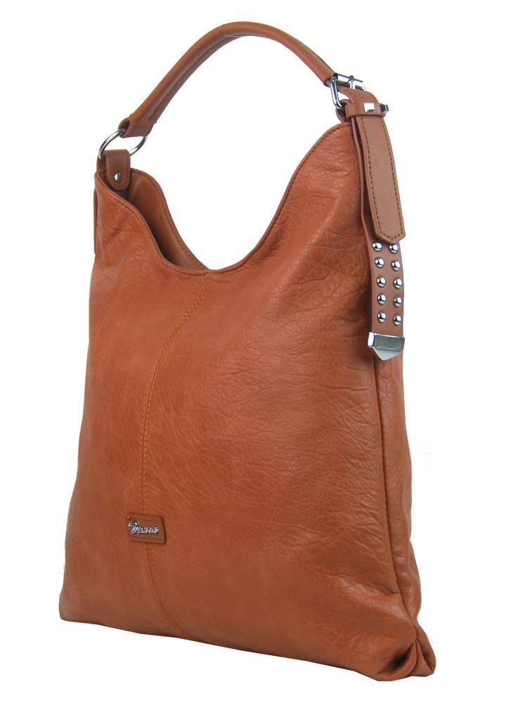 Moderní velká hnědá kombinovaná dámská kabelka 3753-DE