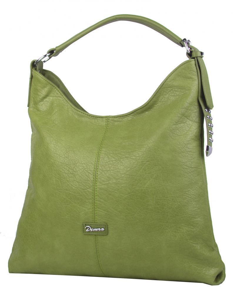Moderná veľká olivovo zelená kombinovaná dámska kabelka 3753-DE