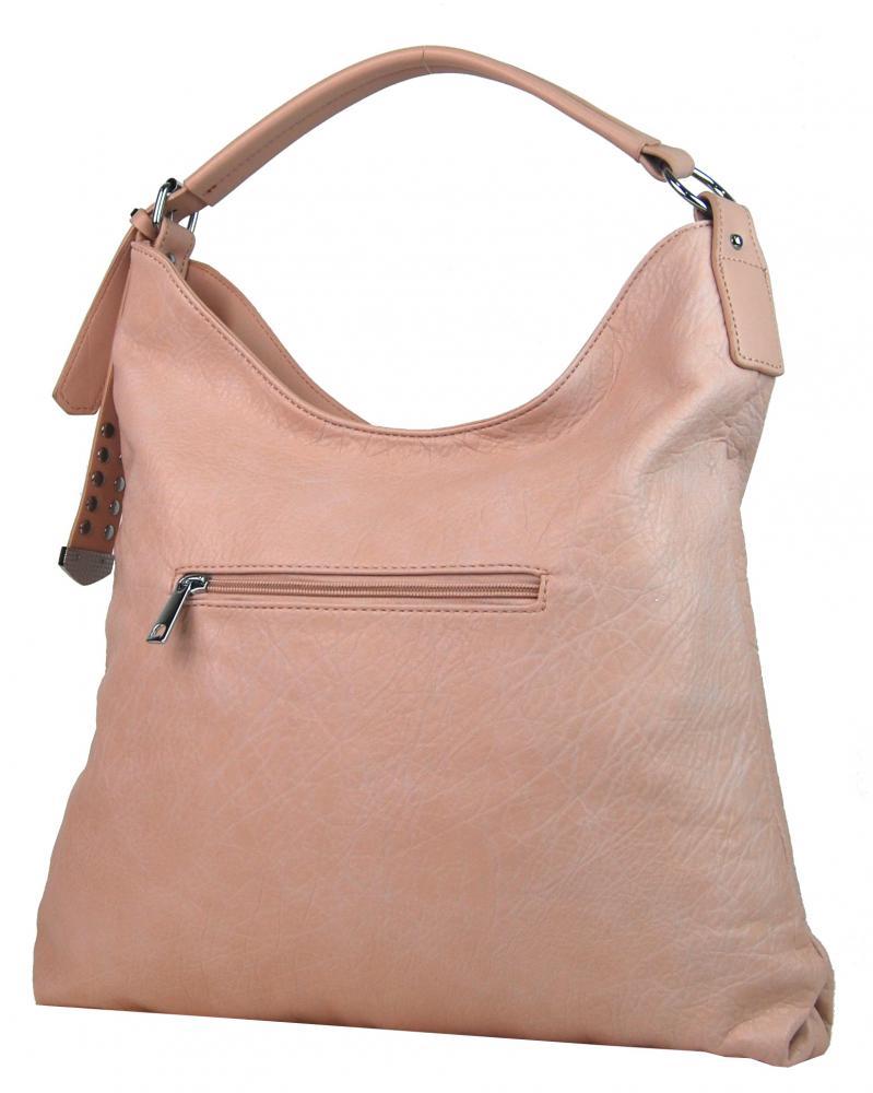 Moderní velká růžová kombinovaná dámská kabelka 3753-DE