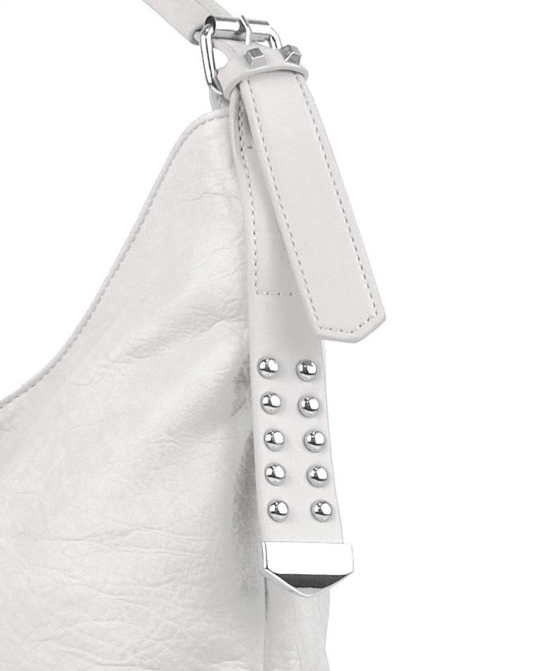 Moderní velká bílá kombinovaná dámská kabelka 3753-DE