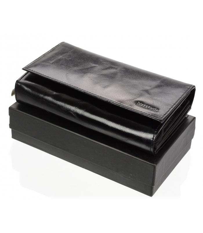 Bellugio čierna dámska kožená peňaženka v darčekovej krabičke