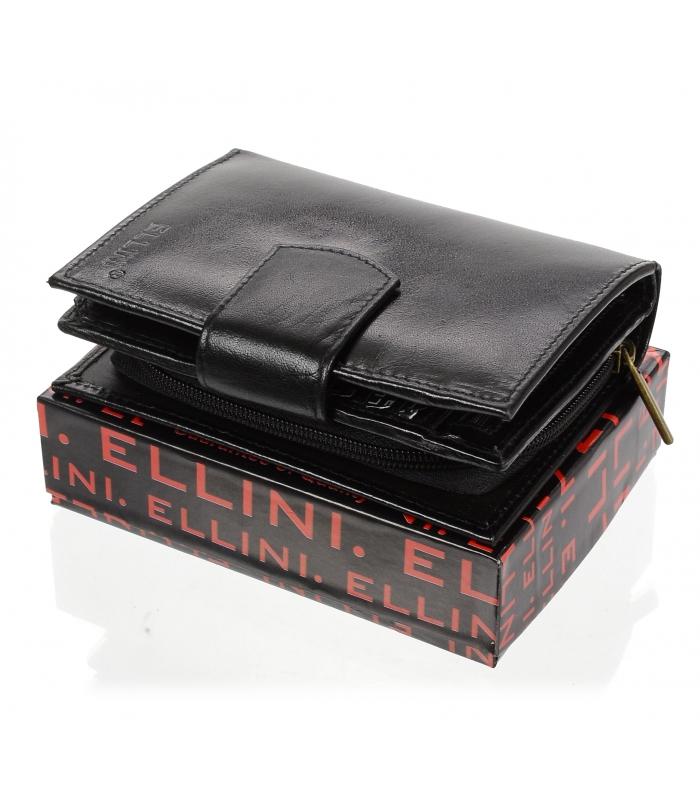 Ellina čierna dámska kožená peňaženka v darčekovej krabičke