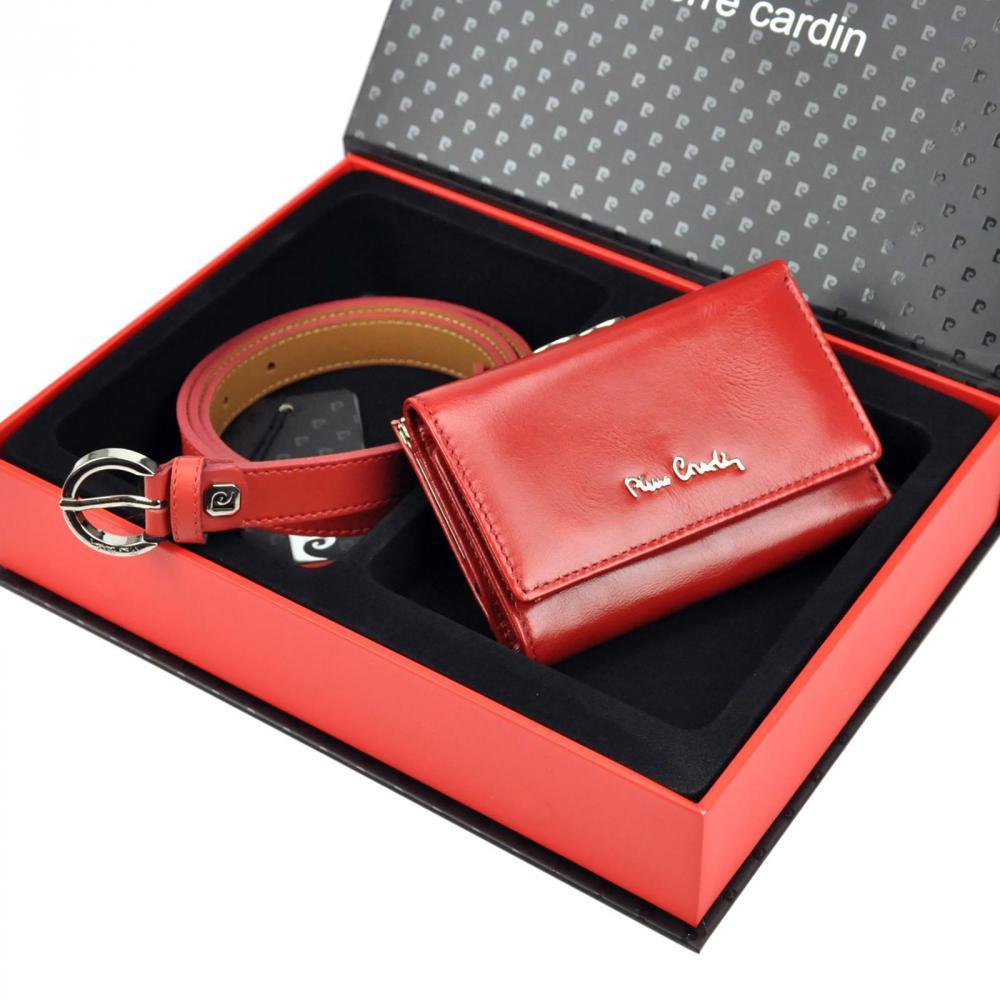 Pierre Cardin Dárková dámská luxusní sada kožený pásek a peněženka