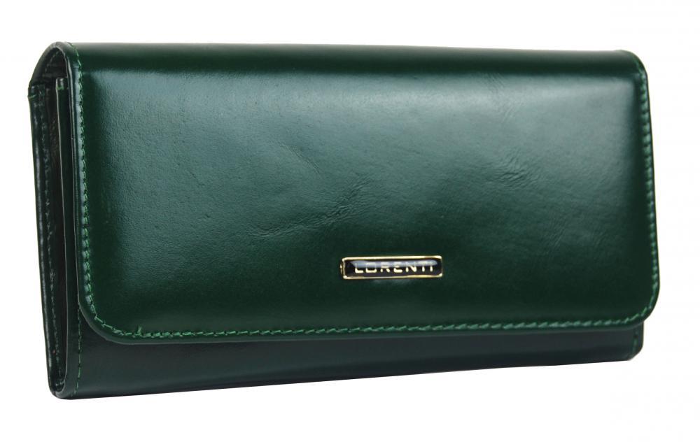 Lorenti tmavo zelená hladká dámska kožená peňaženka v darčekovej krabičke