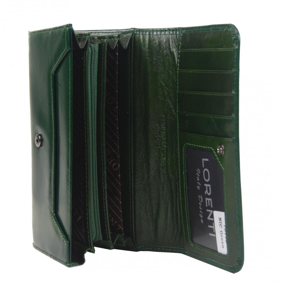 Lorenti tmavě zelená hladká dámská kožená peněženka v dárkové krabičce