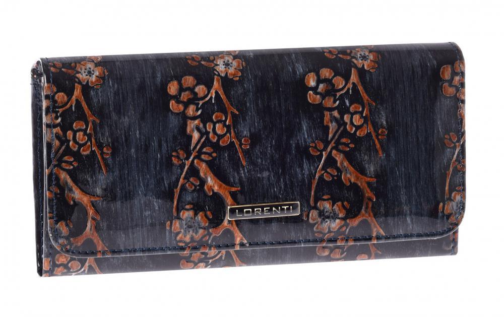 Lorenti čierna dámska kožená peňaženka s hnedými kvetmi v darčekovej krabičke