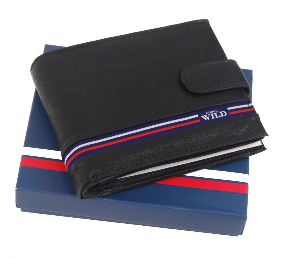 Čierna pánska kožená peňaženka WILD v krabičke