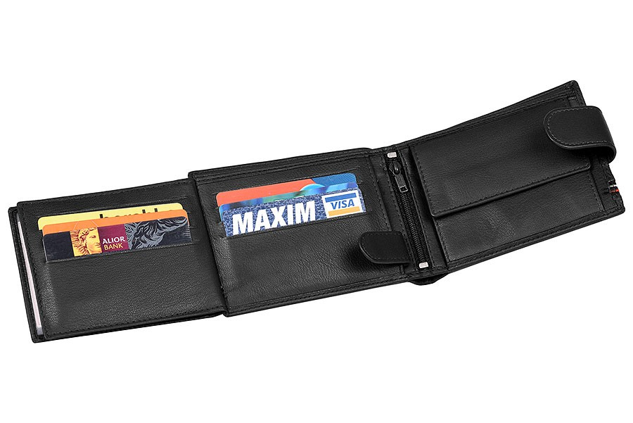 Černá pánská kožená peněženka WILD v krabičce
