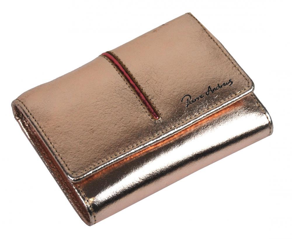 Pierre Andreus Zlatá dámská kožená peněženka RFID v dárkové krabičce