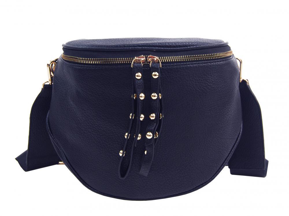 ROSY BAG Větší dámská ledvinka se zlatými doplňky tmavě modrá