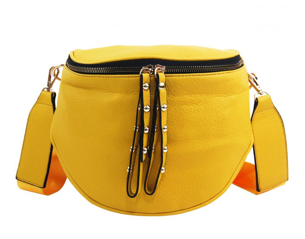 ROSY BAG Větší dámská ledvinka se zlatými doplňky žlutá