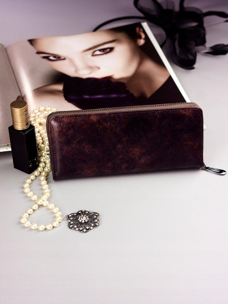 Cavaldi tmavě hnědá dámská peněženka kůže/PU v dárkové krabičce