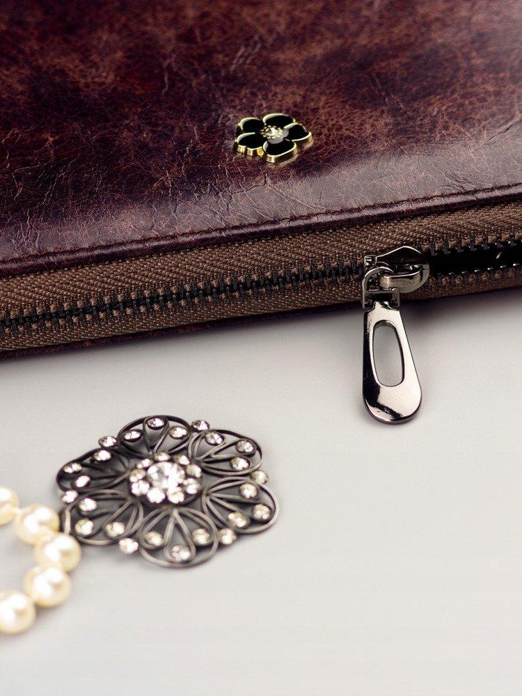 Cavaldi tmavo hnedá dámska peňaženka koža / PU v darčekovej krabičke