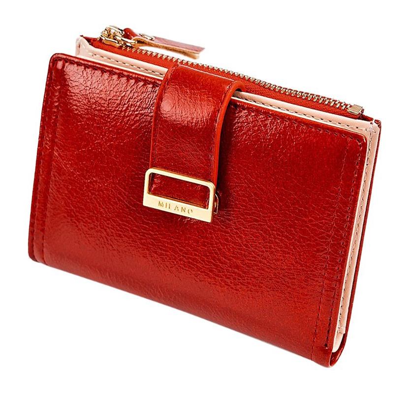 Červená menšia dámska peňaženka v darčekovej krabičke MILANO DESIGN