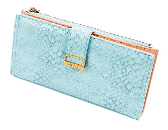 Světle modrá hadí dámská peněženka v dárkové krabičce MILANO DESIGN