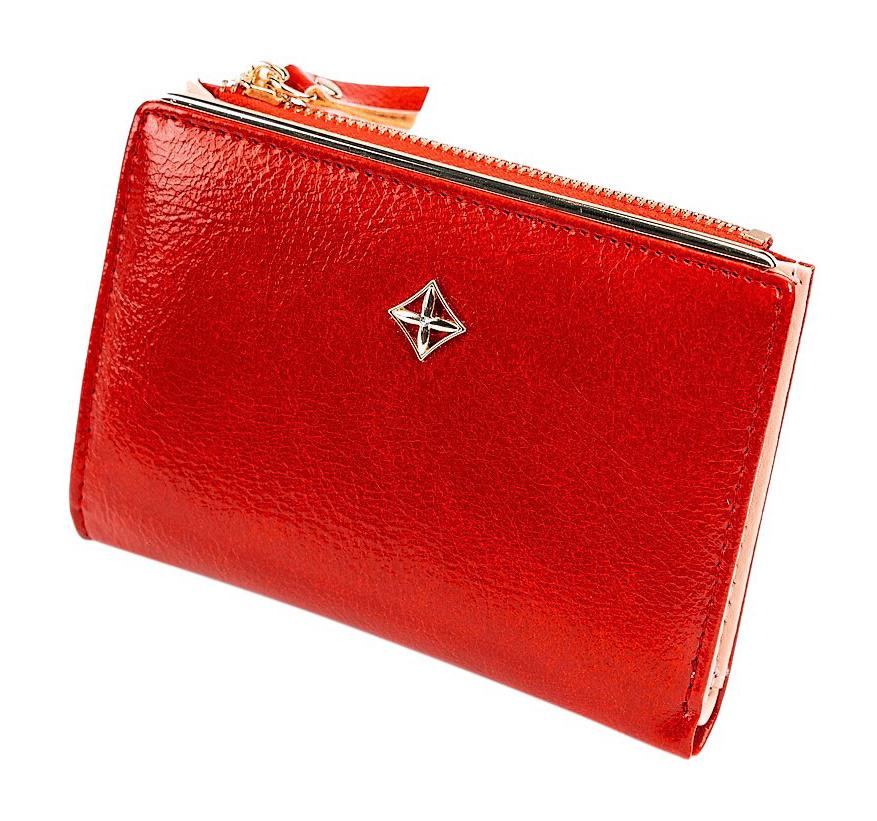 Červená hladká menší dámská peněženka v dárkové krabičce MILANO DESIGN