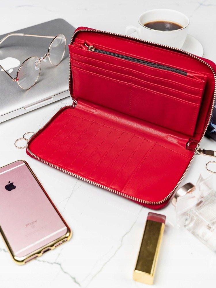Praktická dámska zipsová červená hadia peňaženka v darčekovej krabičke