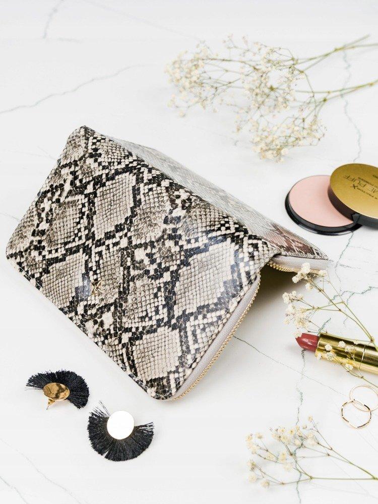 Praktická dámska zipsová béžová hadia peňaženka v darčekovej krabičke