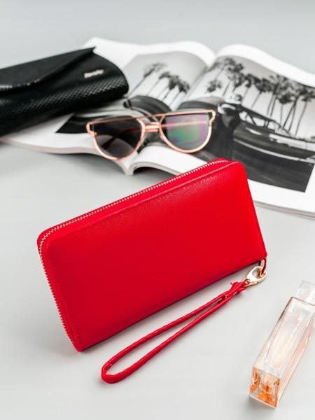 Červená praktická dámská zipová peněženka v dárkové krabičce