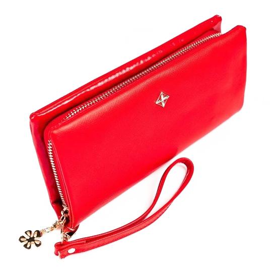 Červená dámska peňaženka s obvodovým zipsom v krabičke MILANO DESIGN