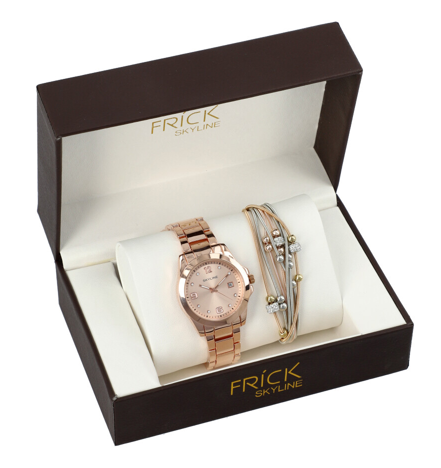 SKYLINE dámská dárková sada růžovo-zlaté hodinky s náramkem R2013