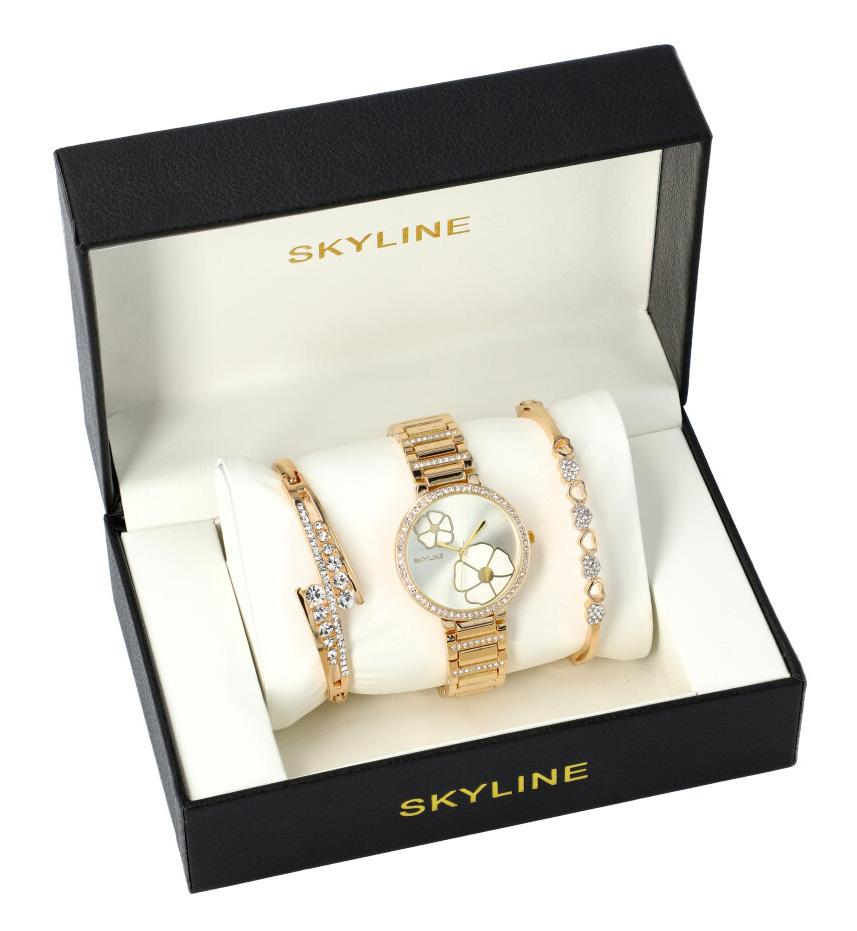 SKYLINE dámska darčeková sada zlaté hodinky s náramky SM0012