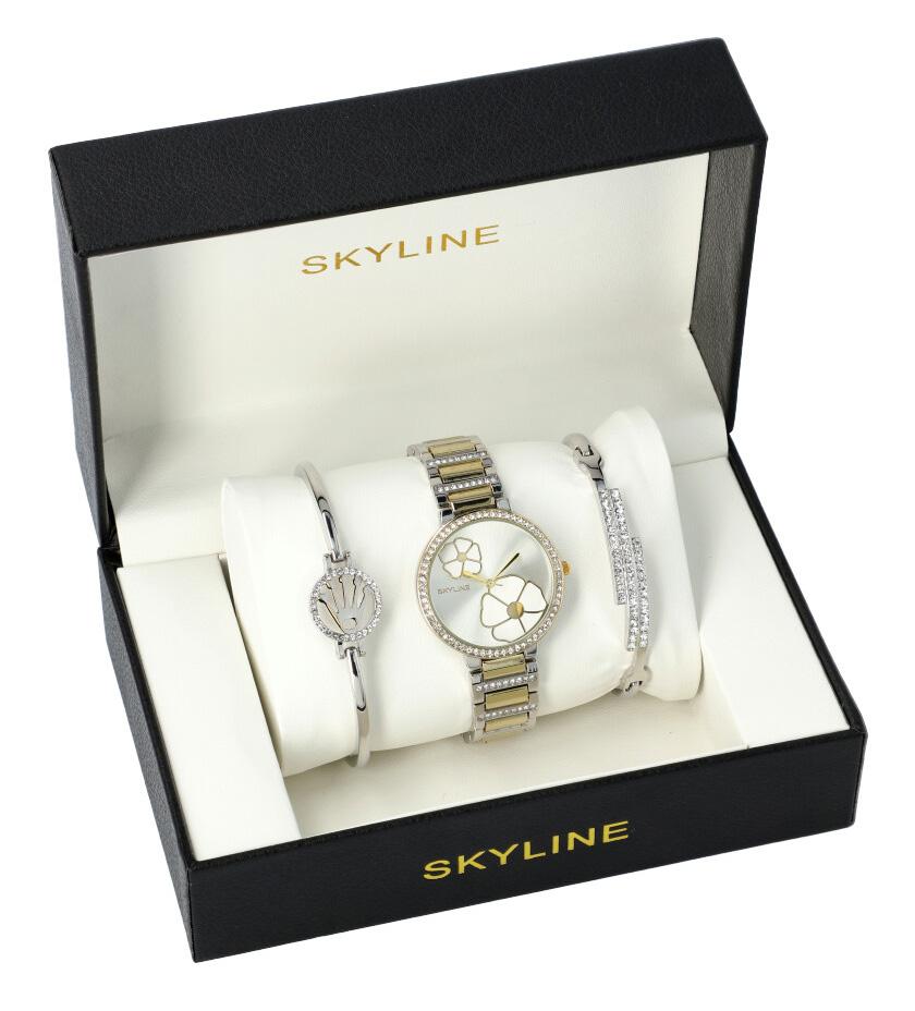 SKYLINE dámska darčeková sada strieborno-zlaté hodinky s náramky SM0014