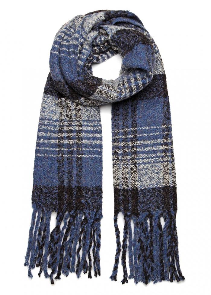 Luxusní módní teplá dámská dlouhá šála S6429 modrá