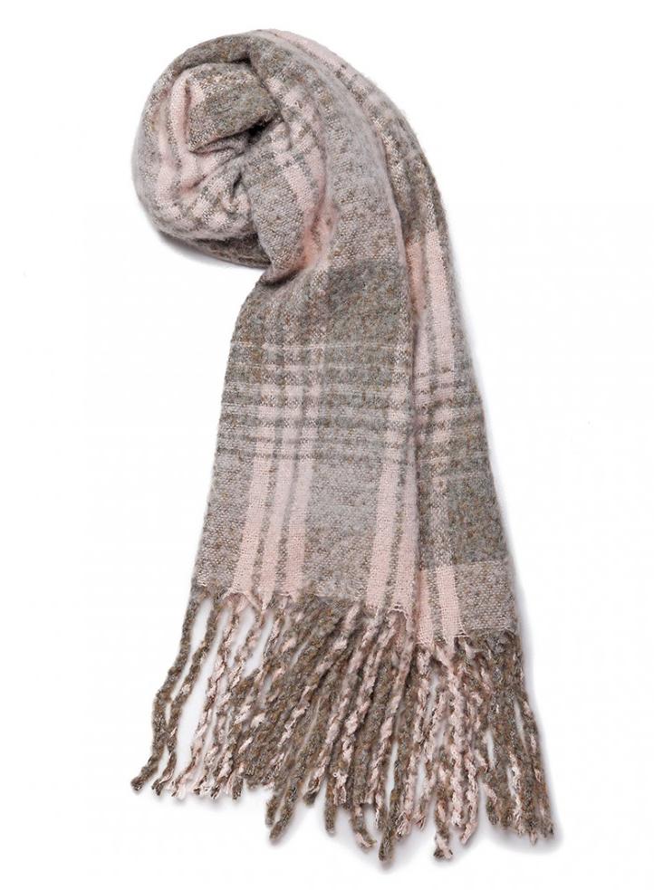 Luxusní módní teplá dámská dlouhá šála S6429 šedá