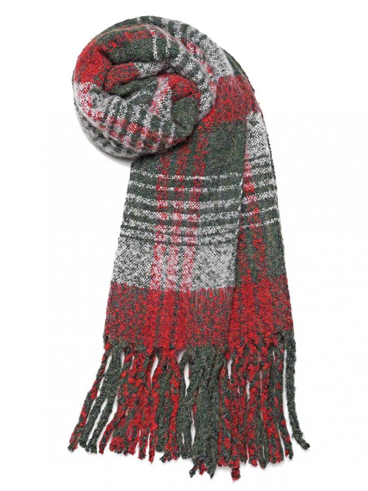 Luxusní módní teplá dámská dlouhá šála S6429 červená