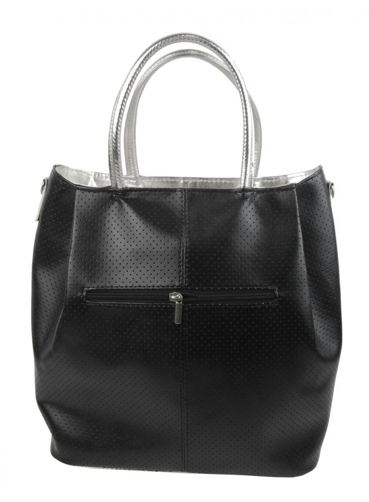 Černá / stříbrná prostorná dámská kabelka S737 GROSSO