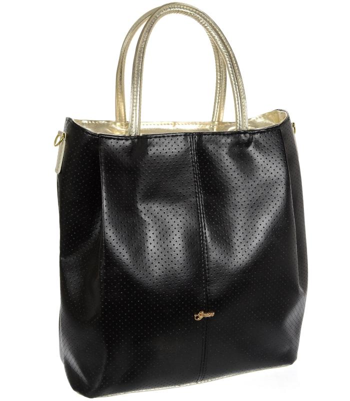 Černá / zlatá prostorná dámská kabelka S737 GROSSO
