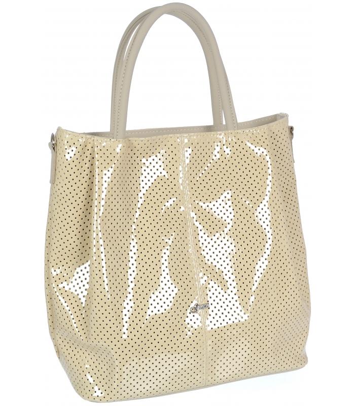 GROSSO Shopper dámská lakovaná kabelka krémová S737