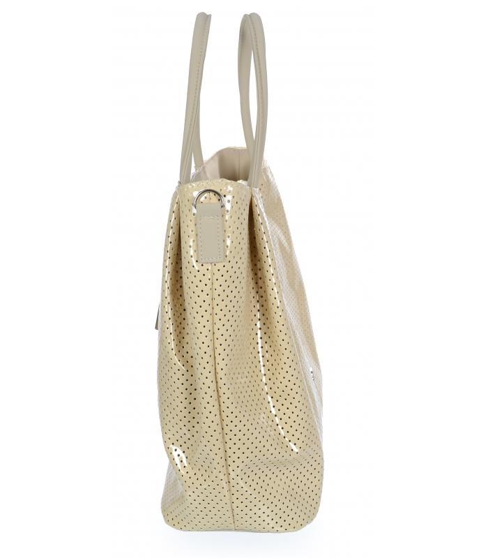Světlá krémová lesklá prostorná dámská kabelka S737 GROSSO