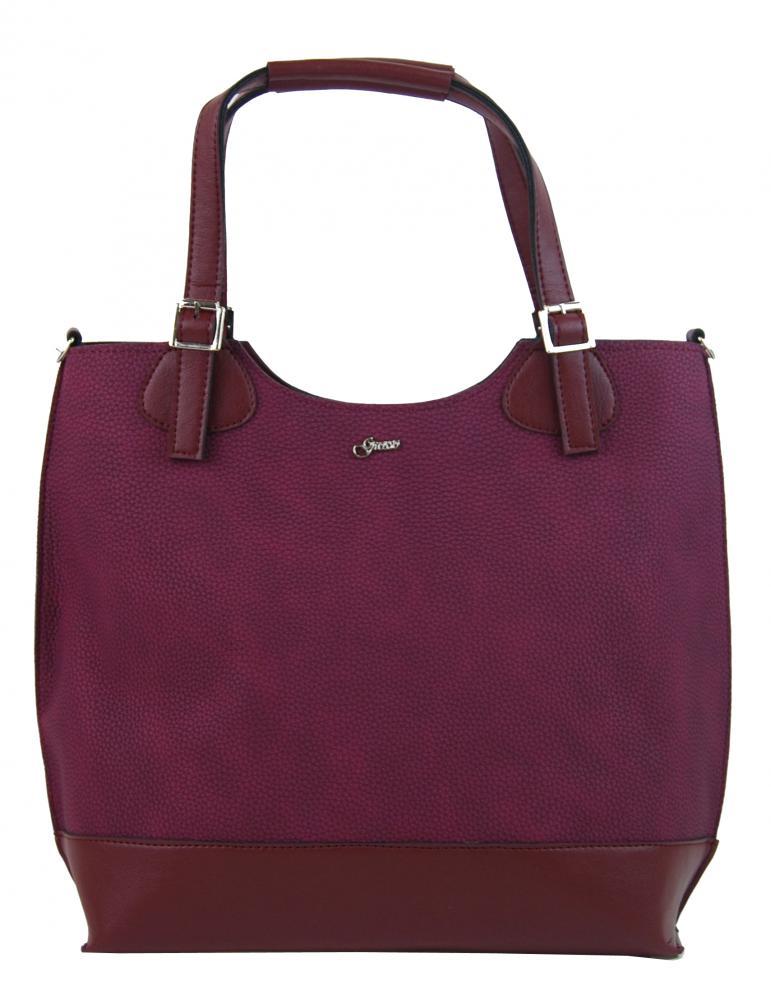 Vínová dámská shopper kabelka s bordovými doplňky S581 GROSSO