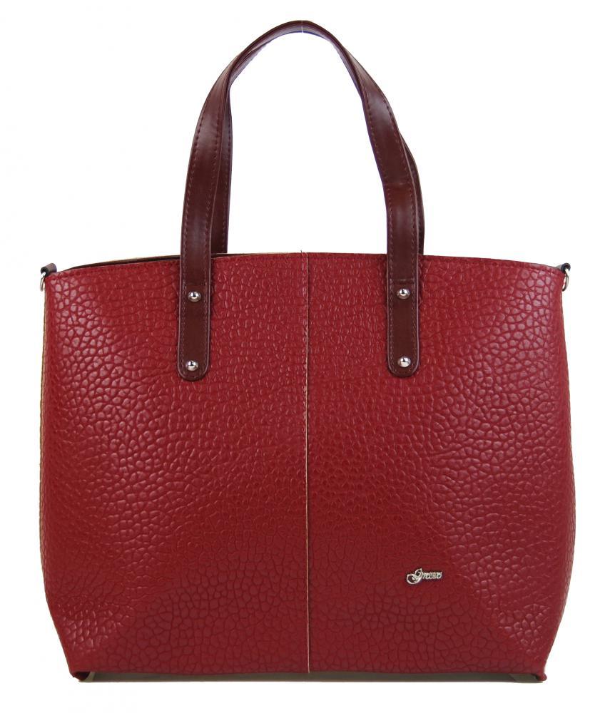 Velká bordová dámská shopper kabelka S618 GROSSO