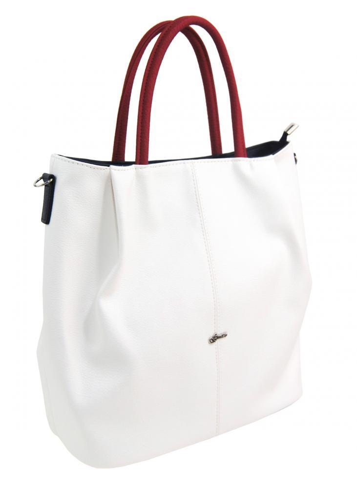 Bílo-modro-červená matná prostorná dámská kabelka S737 GROSSO