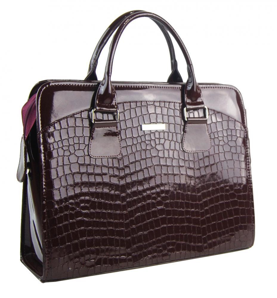 """Dámská luxusní taška na notebook bordó lak krokodýl ST01 15.6"""" GROSSO"""