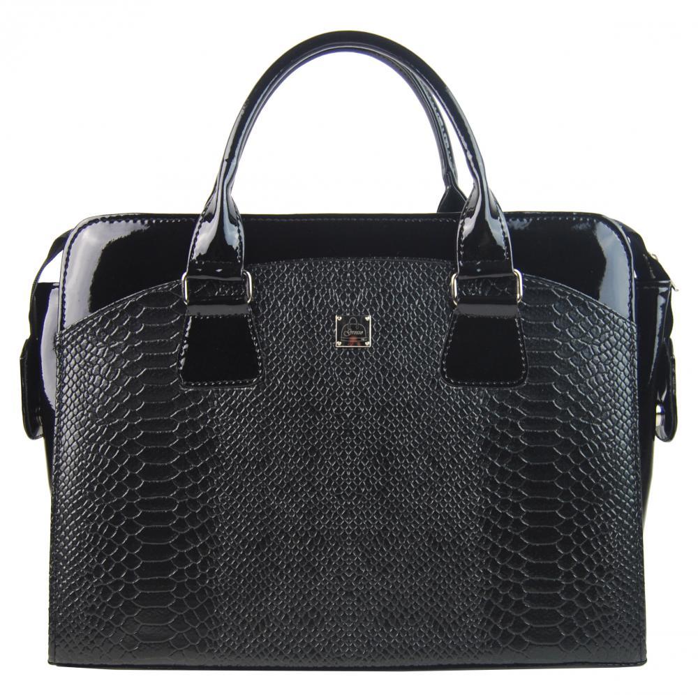"""Dámská taška na notebook černý lak hrubé kroko ST01 15.6"""" GROSSO"""